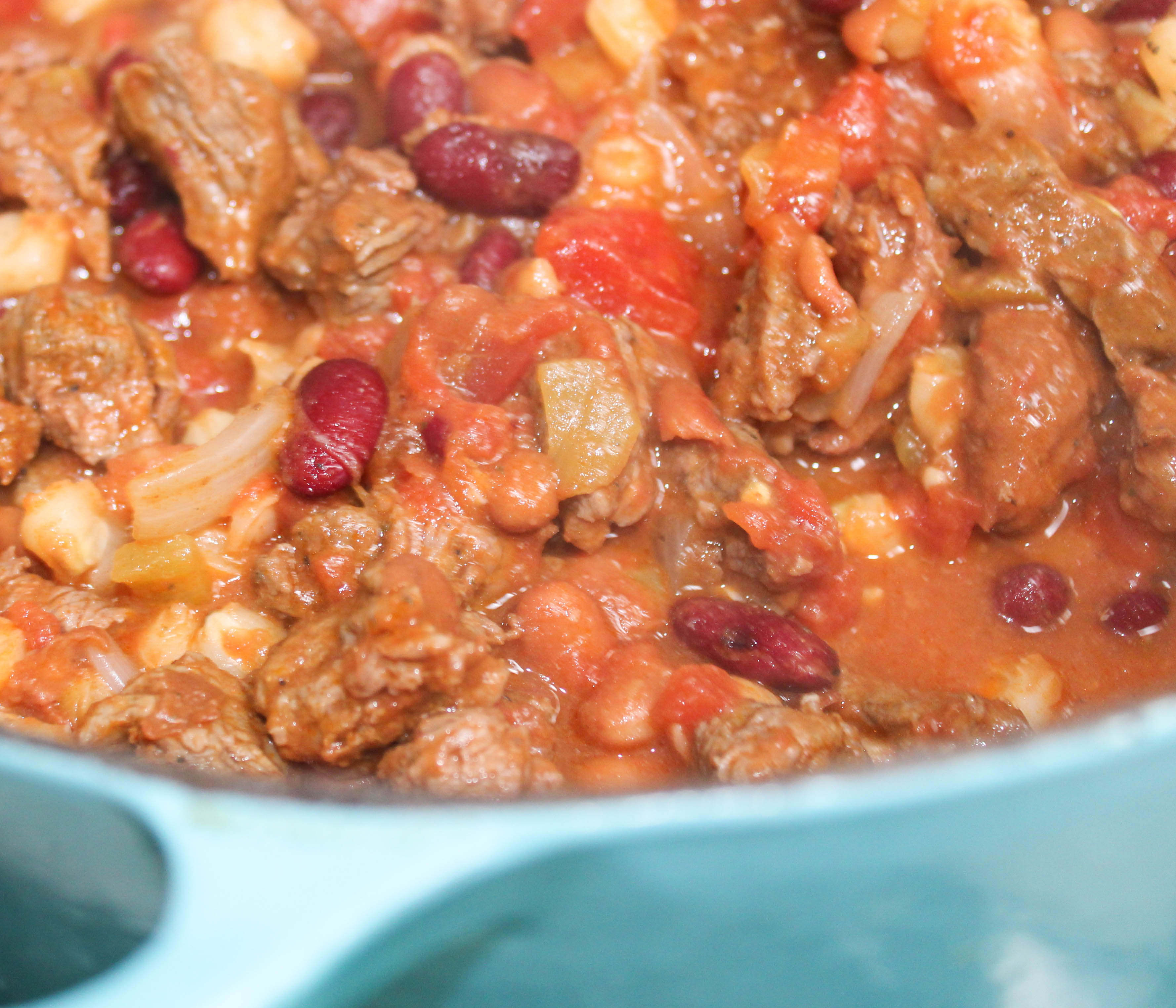 carne asada chili corn hominy beans pinto