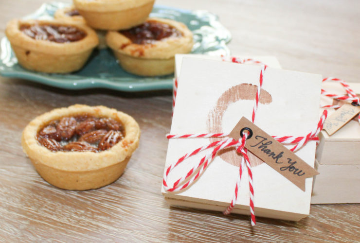Miniature Pies in Stamped Wood Boxes