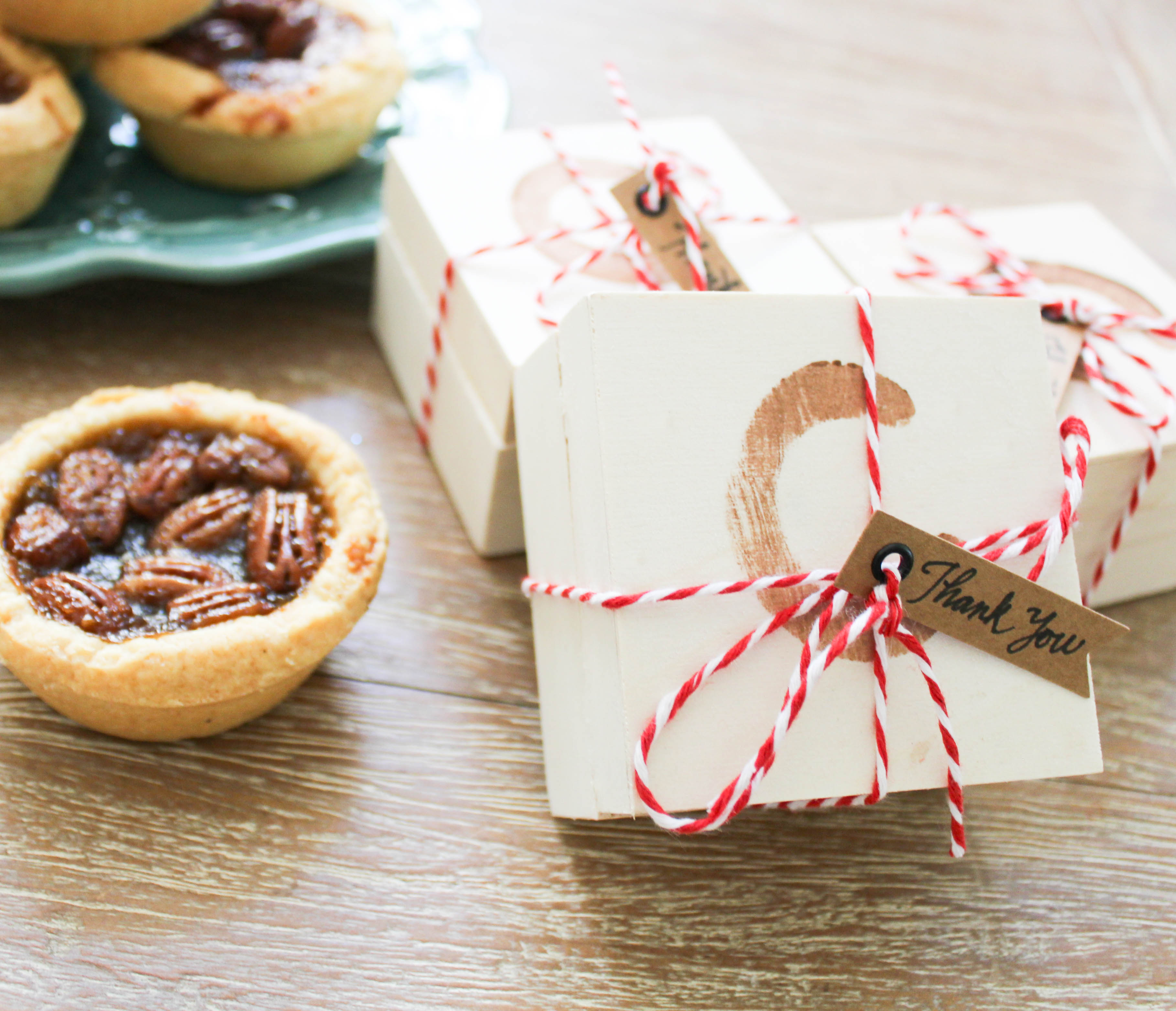 Miniature Pies in Stamped Wood Boxes - Ritzy Parties