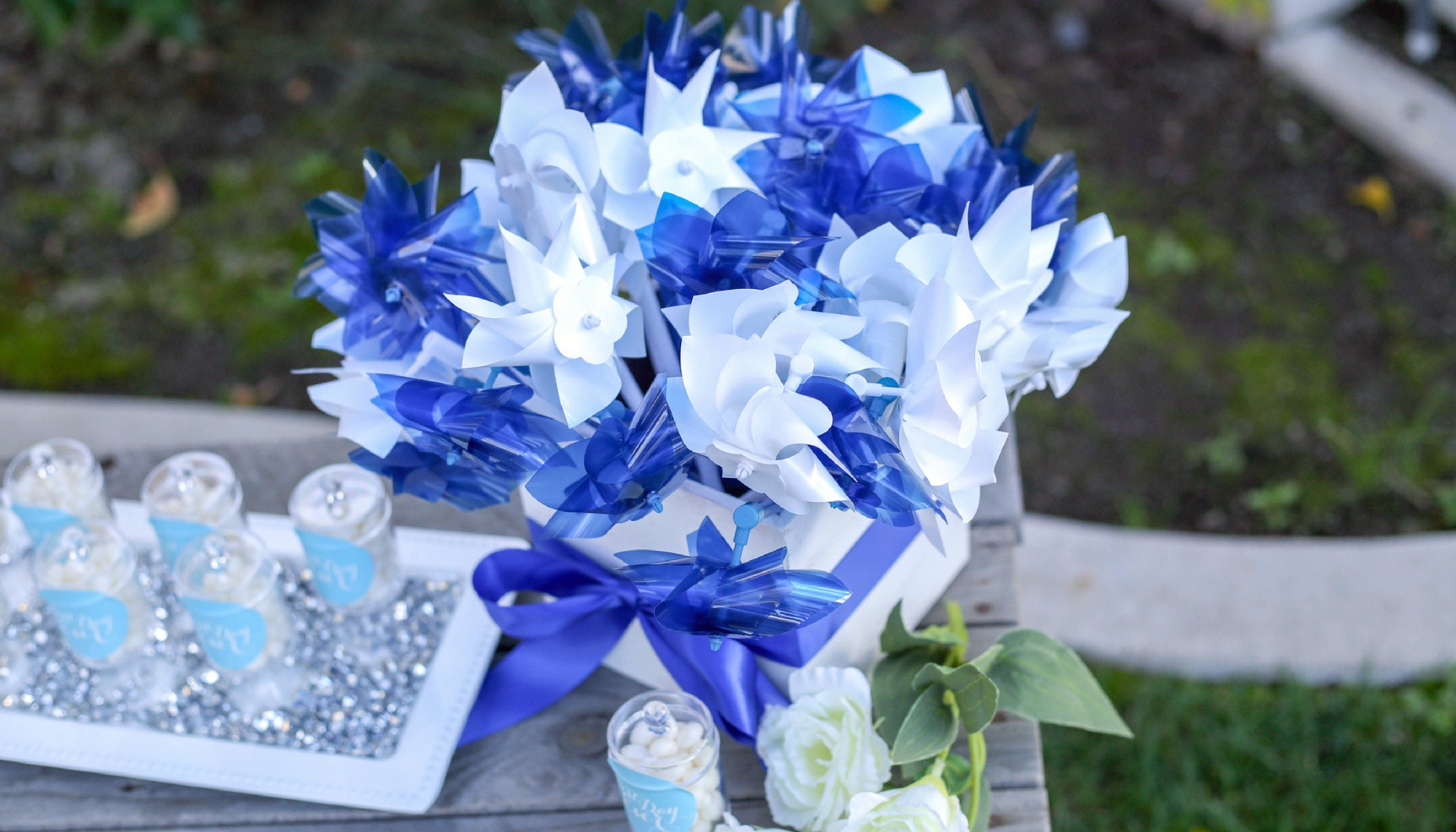 these fun pinwheels are another great way to get some guest participation going at your bridal shower