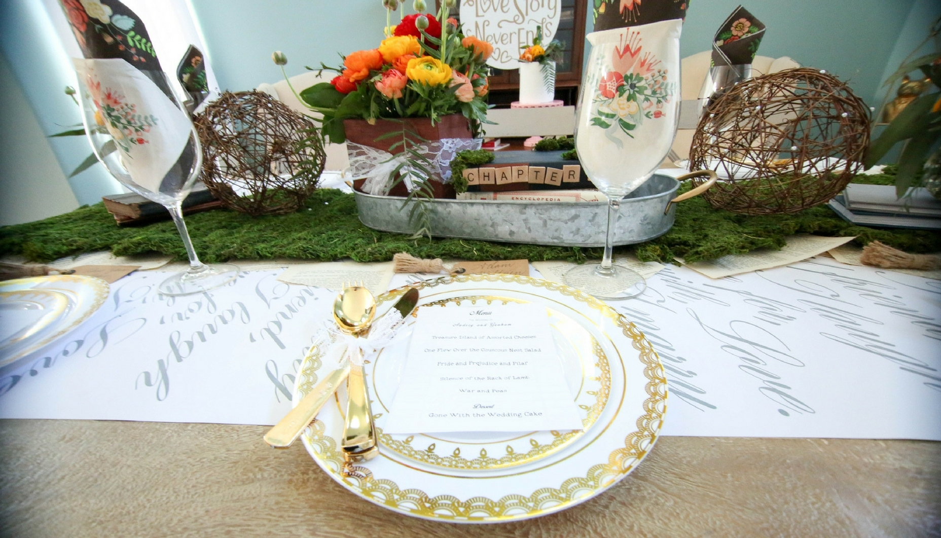 Vintage Library Book Themed Wedding Ritzy Parties