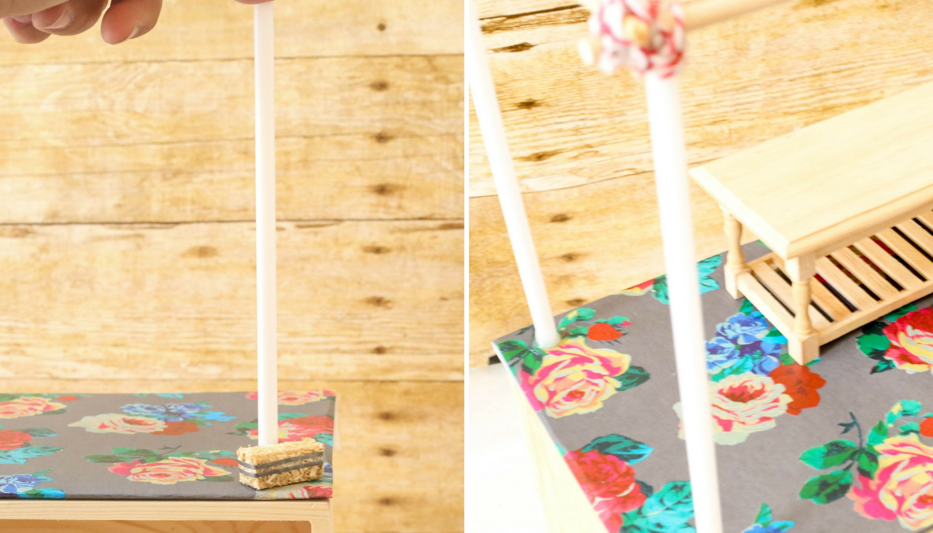 Tip: Hold the straw in place until the hot glue cools, this will help hold the position.