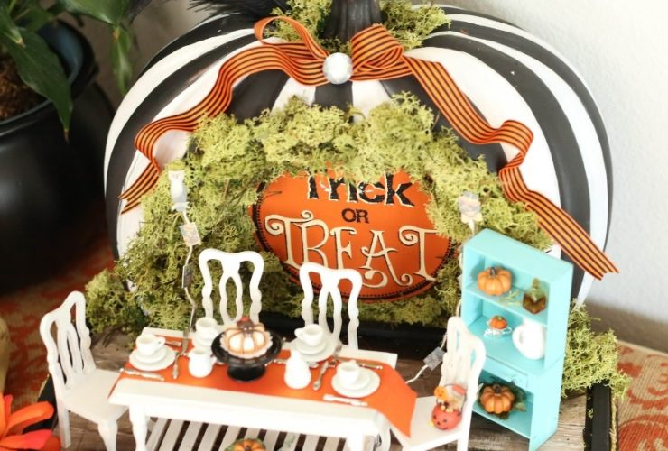 Tiny Halloween Party with Miniature Pumpkins and Halloween Desserts
