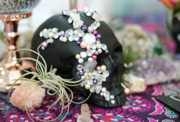Boho Glam Halloween is Sinister and Sexy with Crystals Skulls and Roses