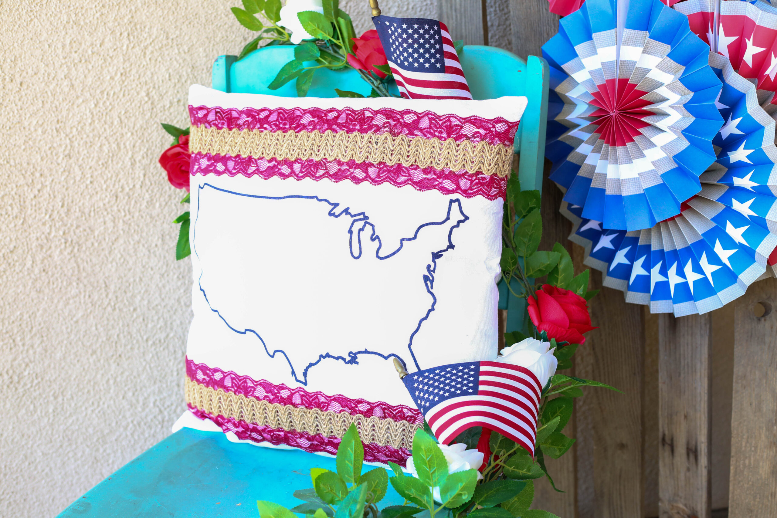 patriotic pillow with lace and burlap trim