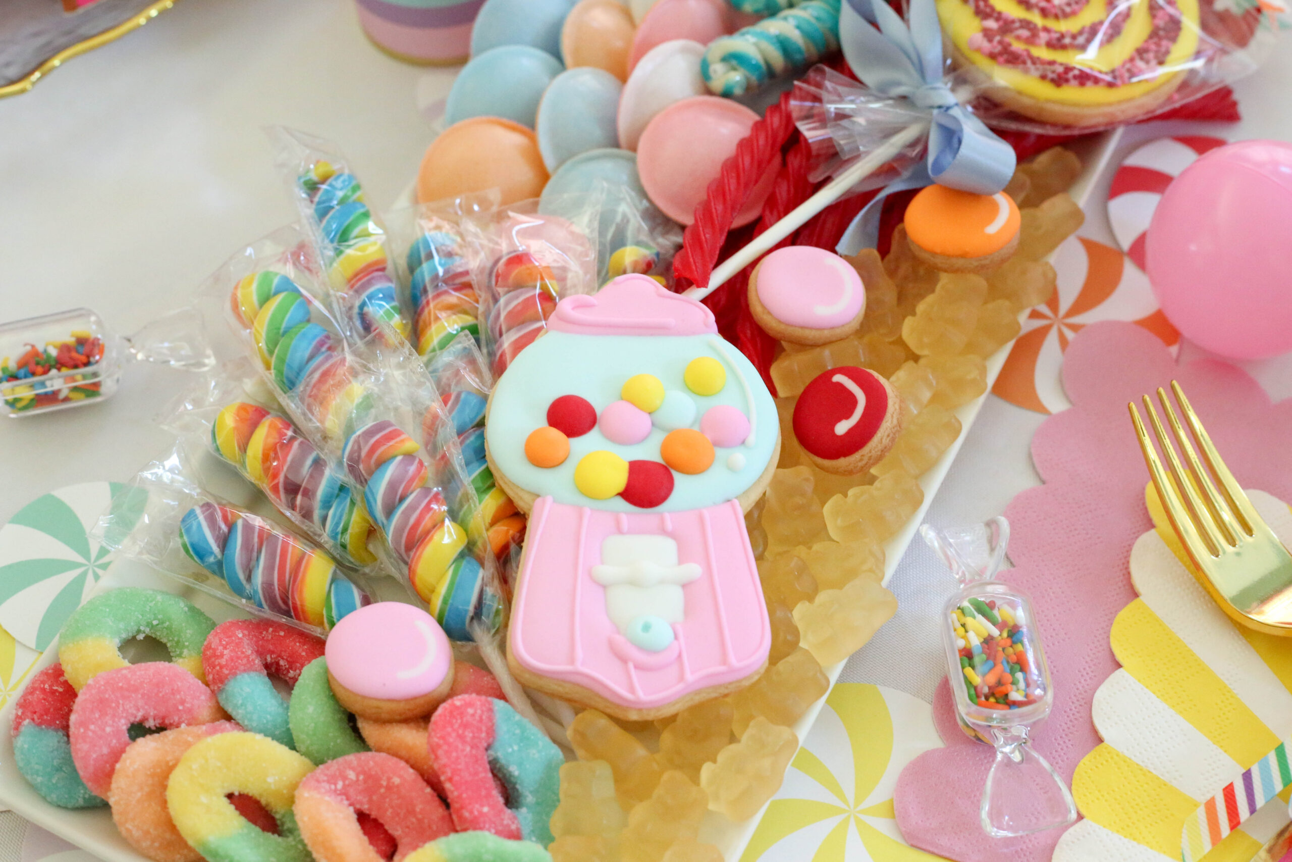 gumball machine cookie on candy charcuterie