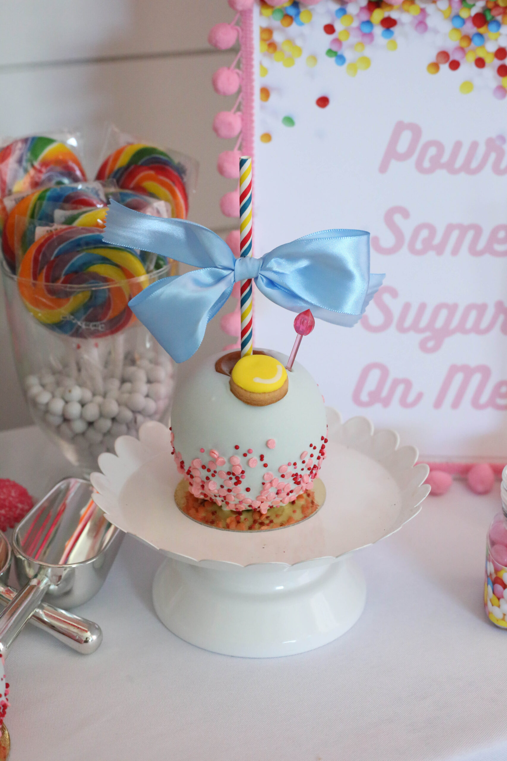Candy party themed candy apple by Roni Sugar Creations by Ritzy Parties