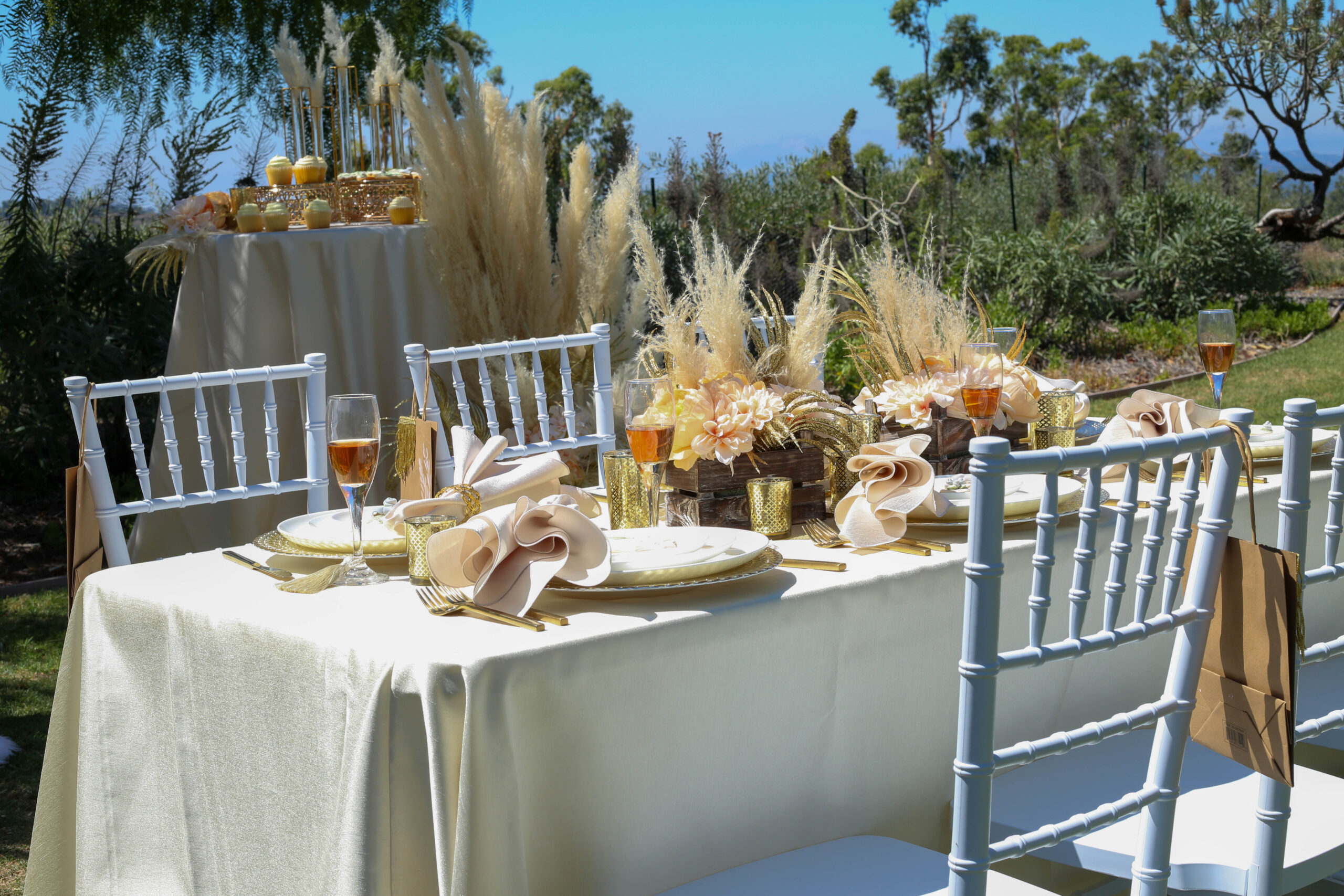 boho baby shower with pampas grass